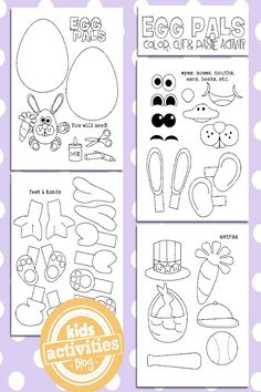 This precious set of Easter egg coloring pages for kids is sure to be a hit. Cut and paste all the egg accessories to create the ultimate Egg pal!