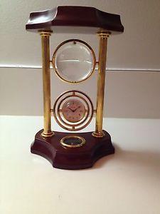 Bulova-Mantel-Desk-Clock-with-Compass-and-Crystal-Glass-Globe-Wood-amp-Brass