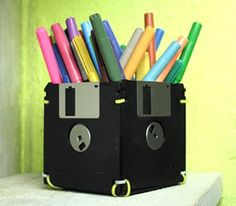 Who remembers these floppy disks?! If you still have them laying around, turn it into a cool marker holder!