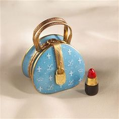 Limoges Blue Elegant Round Purse with Lipstick Box.