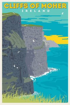 Cliffs of Moher, Ireland. Vintage Style Travel Poster