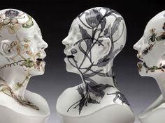 Haunting Ceramic Faces Overgrown with Vegetation by Jess Riva Cooper sculpture ceramics //oh my god//