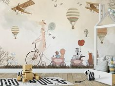 play time kids wallpaper animals and hot air balloons nursery wall mural decor Peel and Stick removable baby kids bedroom wall sticker