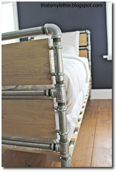 Wood and Pipe Slat Bed 1