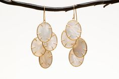 "Intricately Detailed Mother of Pearl ""Silver Dollar"" Earrings by Annette Ferdinandsen"