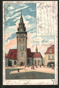 old postcard: Künstler-AK Komotau / Chomutov, Partie an der alten Decanalkirche