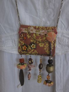 Fabric Necklace in Brown and Orange Upcycled Fabric by JoieLaVie