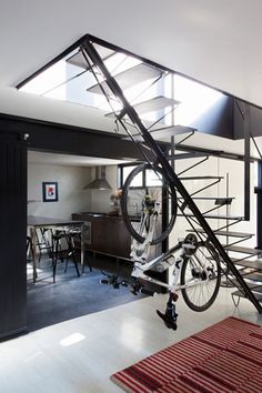 unique bike storage - could we do this under the basement stairs for two bikes?