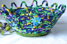 Blue Decorative Basket Soft Fiber Pottery Basket Handmade