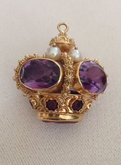 Fabulous large 18k Amethyst and Pearl Crown Charm with Etruscan Work
