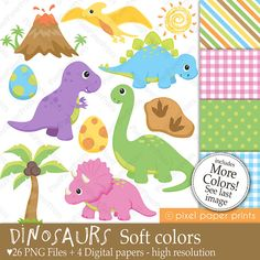 Dinosaurs SOFT COLORS - Clipart and Digital paper set
