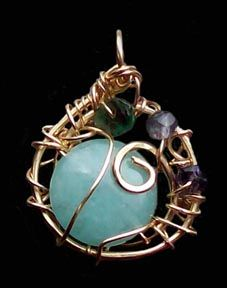 Full Moon Pendant Amulet...charged in Saturday's full moonlight.  Amazonite, emerald, iolite stones, brass setting...could be yours!   $33