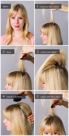 Learn how to tease your hair like a pro. | 29 Cheat Sheets That Will Make Every Day A Good Hair Day