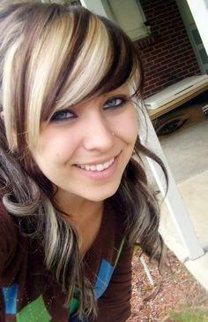 colored streaks in brunette hair - Google Search