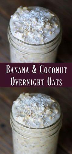 Banana and Coconut Overnight Oats. Delicious make-ahead healthy breakfast recipe. Oats in a jar. Banana and Coconut Overnight Oats. Delicious make-ahead healthy breakfast recipe. Oats in a jar. Overnight Oats Receita, Overnight Oatmeal, Overnight Breakfast, Healthy Overnight Oats, Overnight Oats Coconut Milk, Recipe For Overnight Oats, Healthy Drinks, Healthy Snacks, Healthy Breakfasts