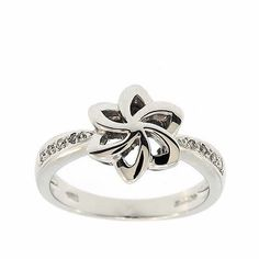 0.10 Cttw F VS Round Brilliant Cut Diamonds Flower Cocktail Ring in 14K White Gold by GetDiamondsDirect on Etsy