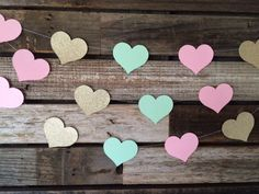 Mint, Gold, and Light Pink Garland Hearts- Baby Shower, First Birthday, Bridal Shower, Birthday Party Beach Party by BlueOakCreations on Etsy https://www.etsy.com/listing/241339911/mint-gold-and-light-pink-garland-hearts
