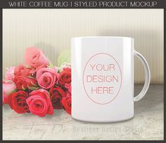 White Coffee Mug Red Roses Styled Product by TanyDiDesignStudio