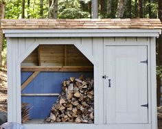 Customize your firewood storage, with paint and roofing to fit your cottage, farmhouse, or lakeside home. This is the 4' x 10' Weekender, with optional red cedar shake shingle roofing. Holds 1 cord of wood. Available as a shed kit (estimated assembly time - 1 person, 15.5 hours), DIY shed plans ($50), or a fully assembled building. http://jamaicacottageshop.com/shop/weekender-4x/ http://jamaicacottageshop.com/wp-content/uploads/pdfs/pdf4x10weekender.pdf