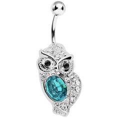 Aqua Gem Midnight Owl Belly Ring | Body Candy Body Jewelry