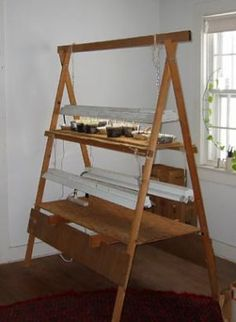 Plant starting stand, I did this project ... you can lower the lights to where the seedlings need it at whatever stage of growth they're in at that time. I loved this thing! It made seed starting so simple, and held a lot of trays. Def. would do again.