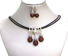 Natural Gemstone Mahogany Obsidian Cluster Pendant Necklace Earrings Zen USA