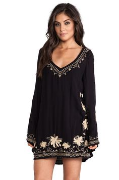 Free People Sky Fall Embroidered Dress in Black Combo