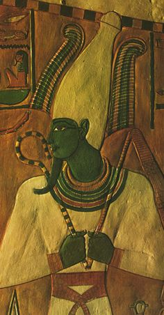 The God Osiris....First Chamber: Nefertari's Tomb.  Done in the fresco technique, paint bonded to wet plaster laid over the rough limestone walls, the images in Nefertari's tomb are over three thousand years old.