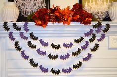 Halloween Bats Garland, Halloween Garland, Bats garland, Halloween, Any occasion garland
