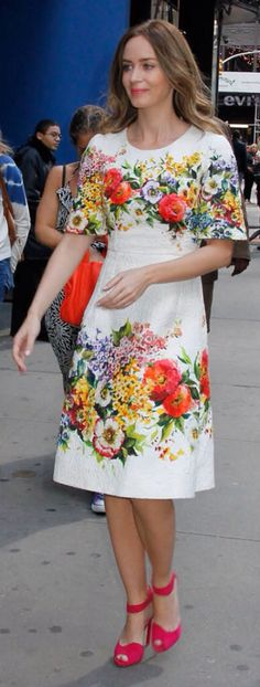 Emily Blunt Does the Floral Dress