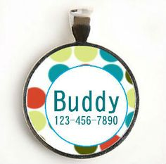 Round Dotted Custom Pet ID Tag for Dog or Cat by LilyMod on Etsy.
