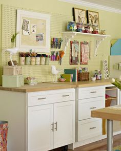 I love this sewing corner - the peg board above the table would be so helpful - I should do this by my machine!