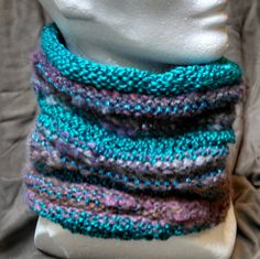Aqua/Teal Cowler: multi-colored & multi-textured washable neck warmer