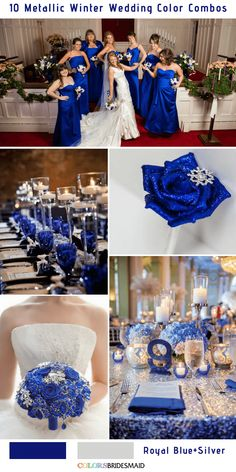 10 Classic Metallic Winter Color Combos Royal Blue and Silver - Army & Police - Wedding Silver Wedding Colours, Silver Winter Wedding, Blue Silver Weddings, Winter Wedding Colors, Sapphire Blue Weddings, Silver Color, Wedding Ideas Royal Blue And Silver, Sapphire Wedding Theme, Horizon Blue Weddings