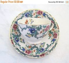 Vintage Hand-Painted China Tea Trio Victoria by TheWhistlingMan