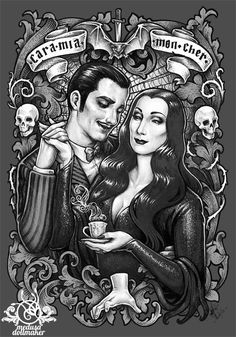 Gomez and Morticia Addams Addams Family, Illustration, Drawings, Gomez And Morticia, Art, Dark Art, Adams Family, Fan Art, Gothic Art