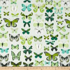 Natural History Butterflies Green from @fabricdotcom  Designed by Lizzy House for Andover, this cotton print fabric is perfect for quilting, apparel and home decor accents. Colors include black, white, shades of green, and shades of blue.