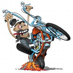 Old school motorcycle rider, on a classic looking chopper with a springer style front end, lots of chrome, smoking tire and flames from exhaust pipes. Lots of detail and full color cartoon illustration. Perfect design for all motorcycle enthusiasts. Chopper Motorcycle, Motorcycle Art, Desenhos Old School, Old School Chopper, Biker Tattoos, Drawn Art, Bar Art, Old Classic Cars, Cool Cartoons