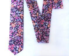 Liberty Tie - Floral Tie Liberty of London - Pink Purple Lavender Peach Flowers Tie by VIVIDClothingToronto