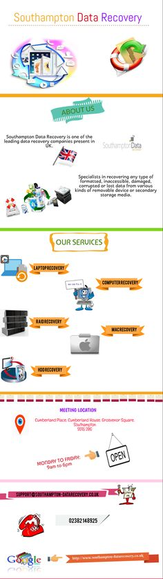 Recover your lost data from any type of storage media unit or removable device with the help of Southampton Data Recovery. The data recovery Southampton specialists that experts in recovering all typeof storage units like- Mac, Hard disk, hard drive, PC, Laptop and more are able to offer best data recovery services to their clients at a very reasonable price.