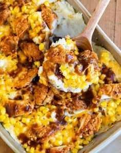 Mashed Potato Casserole with Crispy Chicken. Mashed Potato Casserole with Crispy Chicken Recipes This mouth-watering mashed potato casserole is topped with Corn, Cheddar Cheese, Tyson® Chicken Strips. Chicken Mashed Potatoes, Mashed Potato Casserole, Casserole Dishes, Casserole Recipes, Chicken Gravy, Noodle Casserole, Potato Soup, Baked Potato, Leftover Mashed Potatoes