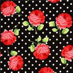 black Michael Miller fabric white polka dots and rose fabric