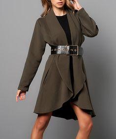 Love this Khaki Drape Coat on #zulily! #zulilyfinds