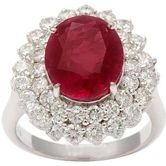 1STDIBS.COM Jewelry & Watches - Burma Natural Ruby Diamond Ring -... ❤ liked on Polyvore