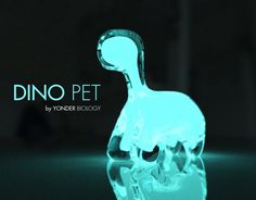 This is Dino Pet, a plastic dinosaur shaped jar filled with a bioluminescent marine algae that will glow when agitated at night.