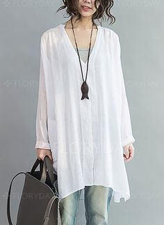 Blouses - $26.99 - Solid Casual Cotton V-Neckline Long Sleeve Blouses (1645254246) Plus Size Shirts, Latest Fashion For Women, Latest Fashion Trends, Trends 2018, Blouses For Women, T Shirts For Women, Ladies Blouses, Women's Blouses, Clothing Sites