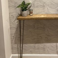 Narrow console table with hairpin legs wooden rustic hallway Rustic Hallway Table, Entryway Tables, Rustic Table, Hallway Decorating, Entryway Decor, Tables Étroites, Consoles, Flur Design, Narrow Console Table