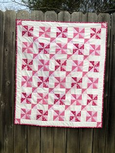 two color pinwheel quilt with sashing | Pink Baby Quilt in Vintage Pinwheel Pattern by KristinaRees