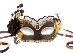 Black & Gold Masquerade Mask With Various Accents - Venetian Style Masquerade Ball Mask With Satin Roses, Rhinestones, Branches And Glitter Very Pretty