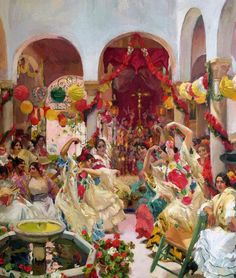 Seville the Dance Painting By Joaquin Sorolla - Reproduction Gallery Spanish Painters, Spanish Artists, Art Espagnole, Oil Canvas, Canvas Art, Dance Paintings, Mural Painting, Inspiration Art, Oil Painting Reproductions